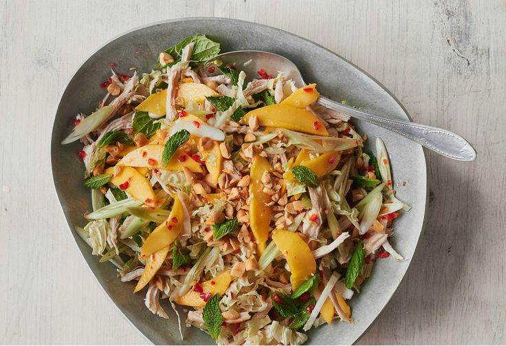 This salad couldn't be easier to make - simply shred leftover cooked chicken and mix with Asian flavours, tropical fruit, nuts and herbs.