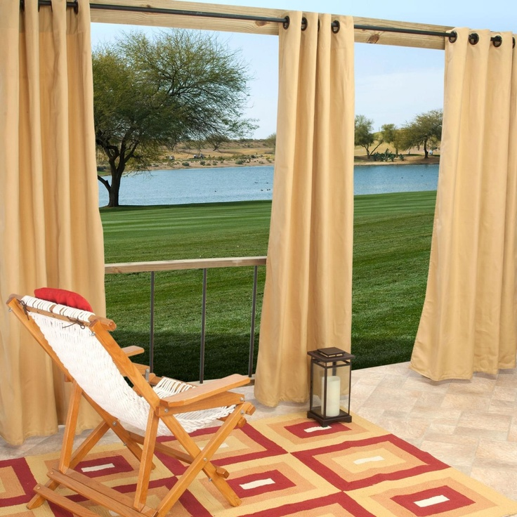 Sunbrella Outdoor Curtain With Grommets By Hatteras Outdoors - 52 1/2 X 84 Inch - Wheat : Ultimate Patio