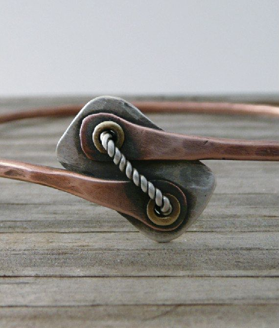 Copper Bangle, Stacking Bangle, Copper Bracelet, Sterling Silver, Cold Connections, Earthy Style
