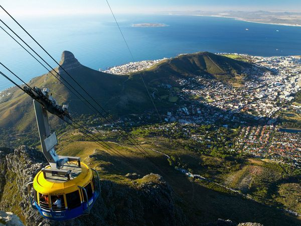the view of Cape Town, South Africa, from Table Mountain in cable car. okay, I'm not psyched about heights but for this view I wouldn't think twice about it.