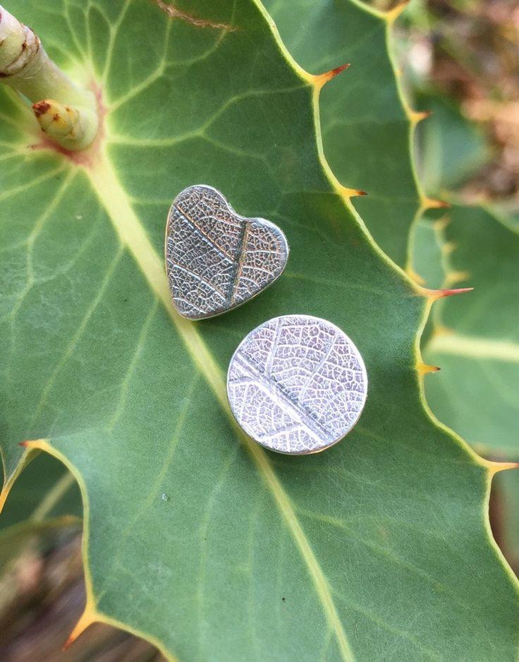 Heart & Circle Mismatch earrings by SilverByKat on Etsy