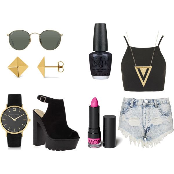 Summer is almost here grunge look by elenalovesu on Polyvore featuring Topshop, Allurez, Larsson & Jennings, Gorjana, Ray-Ban, Monki and OPI