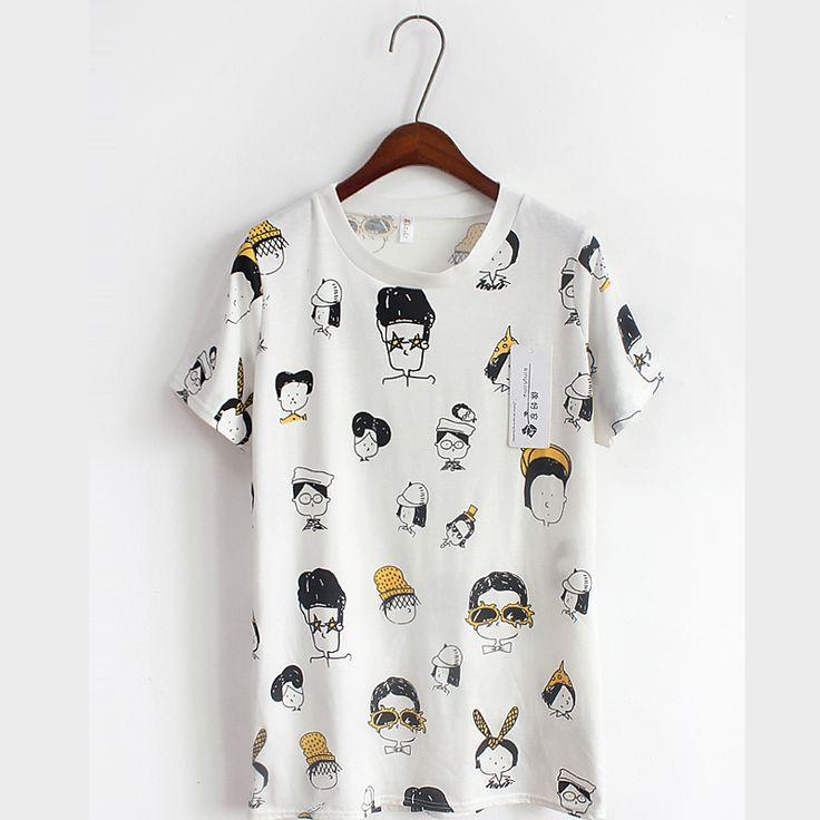 Güney Kore Alışveriş 2.015 bahar ve yaz yeni Kore vahşi sevimli karikatür gevşek yuvarlak boyun kısa kollu tişört kadın gelgit baskılı - Taobao