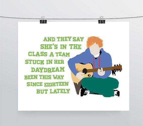 Ed Sheeran   The A Team, Typography Print, Music Lyrics Print, Pop Music, Song Lyrics, Pop Art