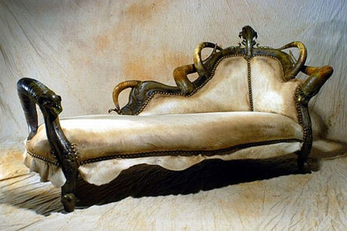 Wow, what a beautiful chaise lounge. Horn and hide doesn't have to be totally rustic!