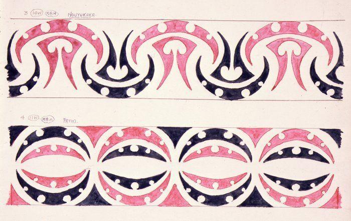 """Godber, Albert Percy, 1876-1949 :[Drawings of Maori rafter patterns]. 3. 14W. MA14. """"Ngutukaka"""" [and] 4. 11W. MA11. """"Patiki"""". [1939-1947]."""
