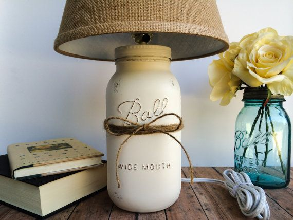 Mason jar lamp, beach cottage table lamp, burlap, rustic, shabby chic, home decor, home lighting