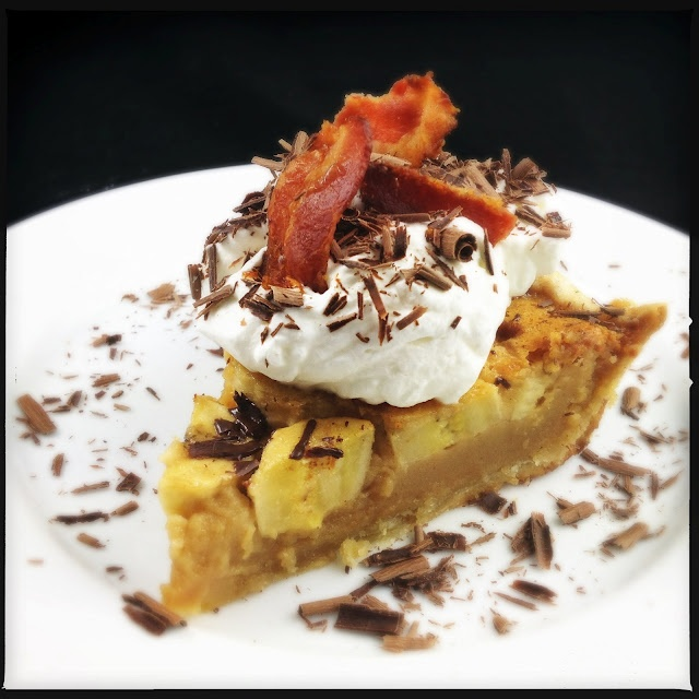 The Velvet Elvis Pie...peanut butter, dulce de leche, bananas, chocolate, whipped cream and bacon.
