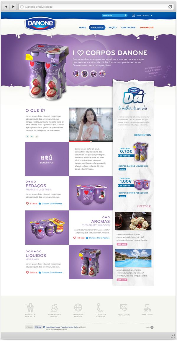 Danone Portuguese Website by Hugo Miguel Sousa, via Behance #webdesign #inspiration #danone