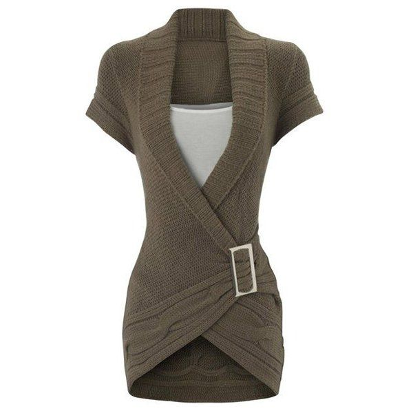 Noble Shawl Collar Solid Color Short Sleeve Buckled Sweater Dress For Women