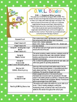 7 DIFFERENT OWL BINDER COVERS/PARENTS EXPLANATION/BINDER RULES - TeachersPayTeachers.com