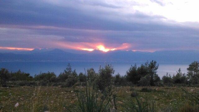 Loutraki sunset from Gerania mountain