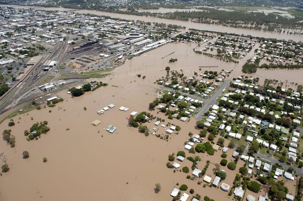 Aerial Views Of The Flooding In Rockhampton, Queensland Jan 2011