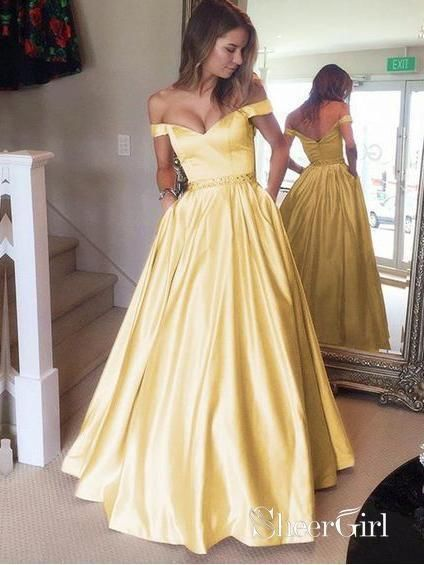 7d5daec42ef A-line Off the shoulder Long Prom Dresses Cheap Simple Prom Dress APD1918  in 2019