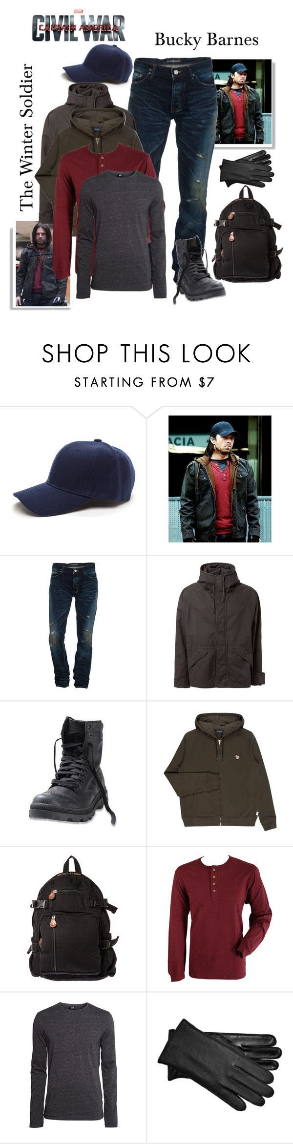 """Bucky Barnes/The Winter Soldier - Captain America: Civil War"" by gone-girl ❤ liked on Polyvore featuring Snake & Dagger, adidas Originals, Diesel, Paul Smith, Rothco, Pendleton, H&M, UGG Australia, men's fashion and menswear"