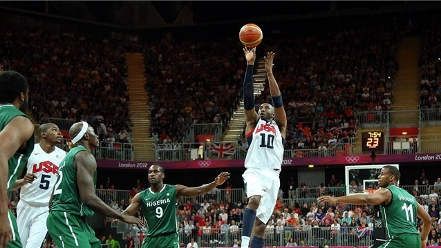Kobe Bryant of the United States shoots in the first half during the men's Basketball match against Nigeria on Day 6 of the London 2012 Olympic Games.