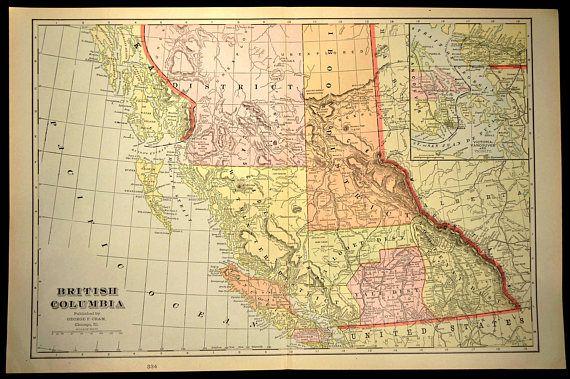 Map British Columbia Map LARGE Canada Original Vancouver | Map Wall ...