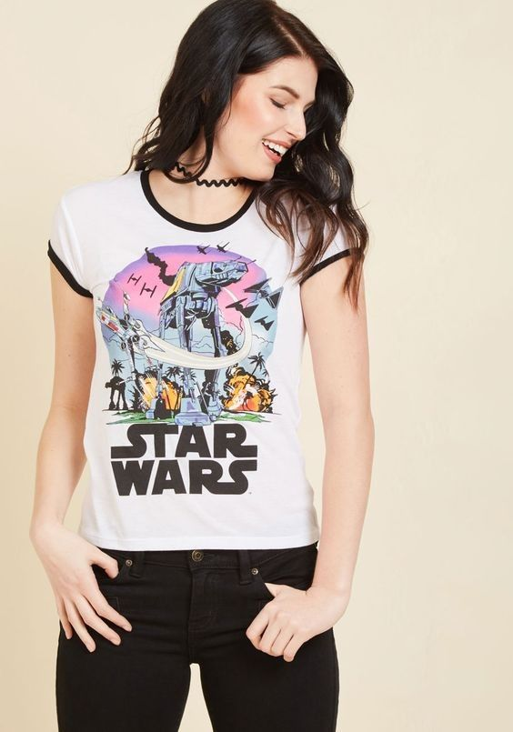 Women's Star Wars Rogue One Scarif Fight The Empire tee available at ModCloth ⭐️ Star Wars fashion ⭐️ Geek Fashion ⭐️ Star Wars Style ⭐️ Geek Chic ⭐️