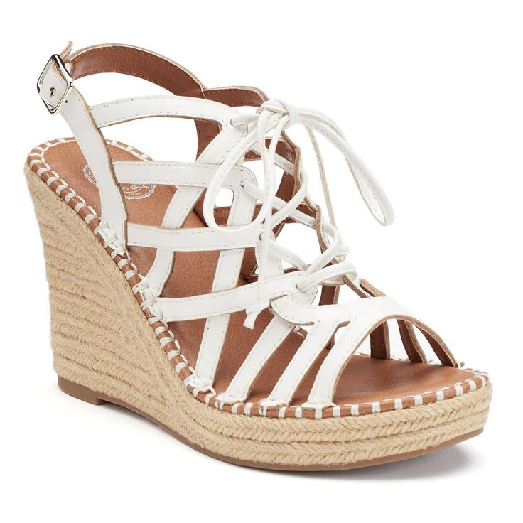 SO® Women's Lace-Up Espadrille Wedge Sandals, Size: medium (9.5), Natural