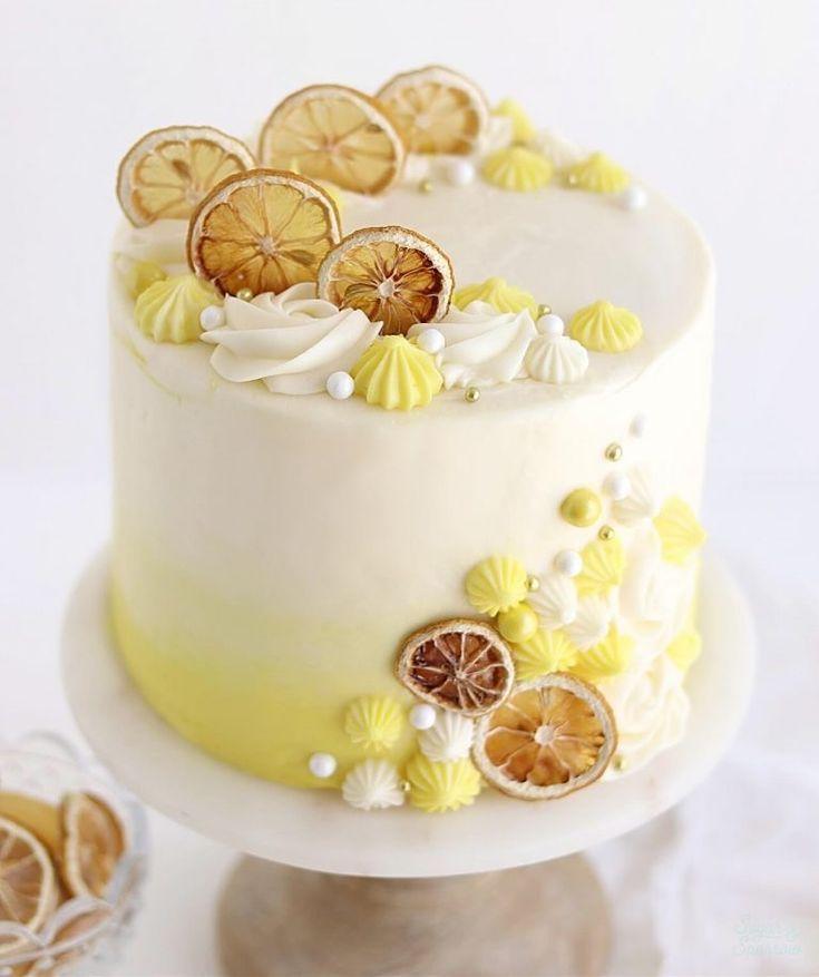 Lemon Cake Decoration In 2020 Lemon Cake Recipe Lemon Birthday Cakes Lemon Layer Cakes