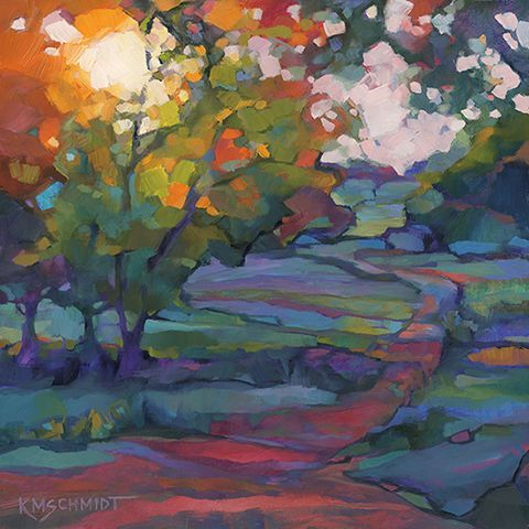 Such a Time as This fauve impressionist illustration style Louisiana landscape painting • professional oil painting technique • painterly, thick and loose • postimpressionist style landscape painting with the evening sun through trees, and a path going into distance