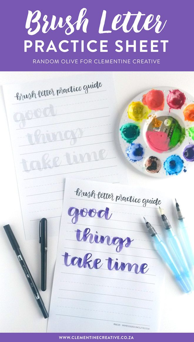 Want to practice brush lettering or get started with it? Download this free brush letter practice sheet by Random Olive, get your favourite brush pen and start lettering today.