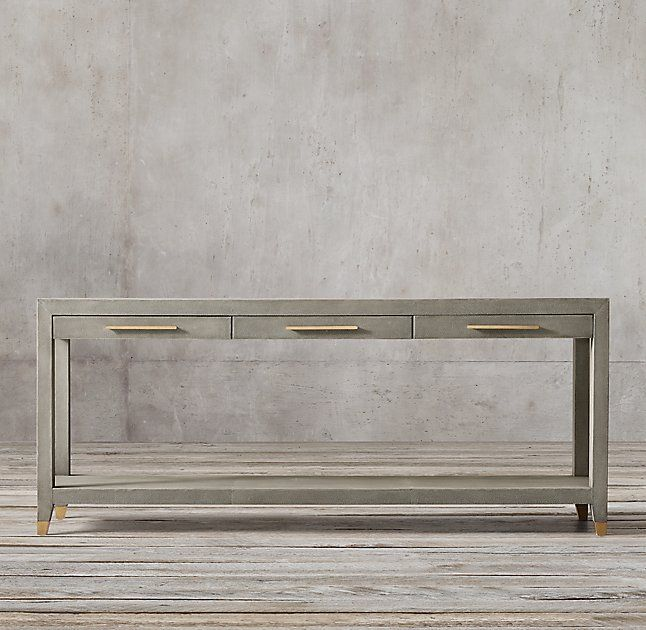 Graydon Shagreen 3 Drawer Console Table Reservoir Lr