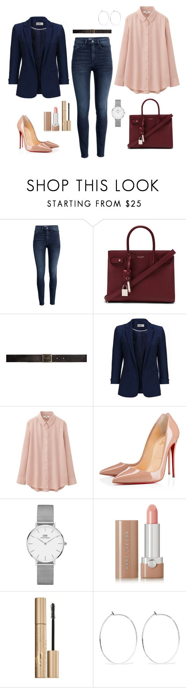 """Untitled #352"" by bajka2468 ❤ liked on Polyvore featuring H&M, Yves Saint Laurent, Uniqlo, Christian Louboutin, Daniel Wellington, Marc Jacobs, Stila and Catbird"