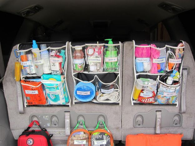 Cut up a shoe organizer to create an over-the-seat caddy for your car. | 52 Meticulous Organizing Tips For The OCD Person In You