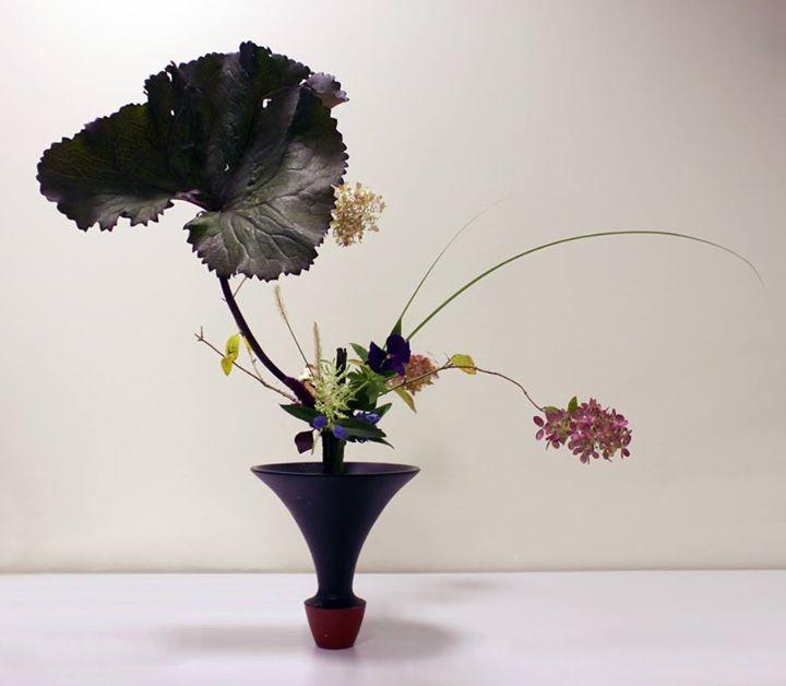 Japanese style flower arrangement - Rikka Shimputai style by Ekaterina Minina, from Ikebana Ikenobo Russia FB group