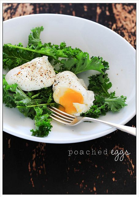 Poached Eggs with Kale