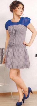 vestido de tirantes gris con encajes (ganchillo)