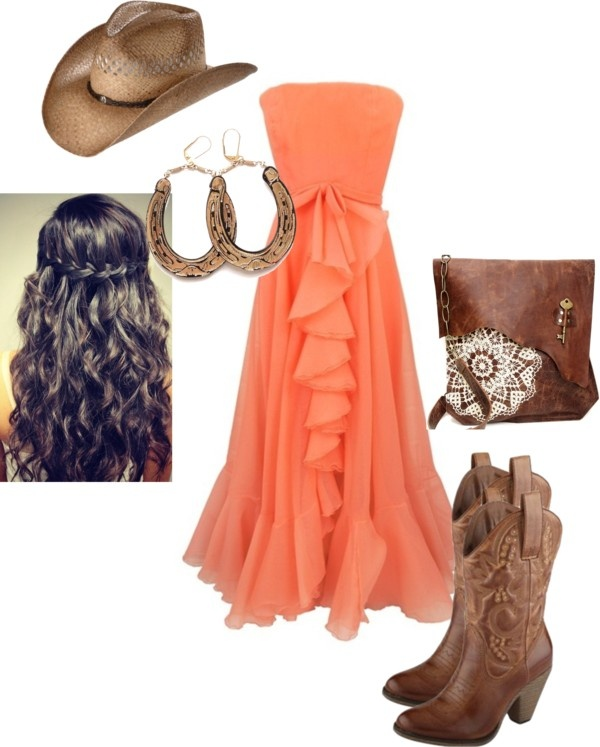 """""""Sassy Classy Summer Cowgirl"""" by tanseymk on Polyvore...love the dress w/ the boots & accessories, but no hat needed!"""