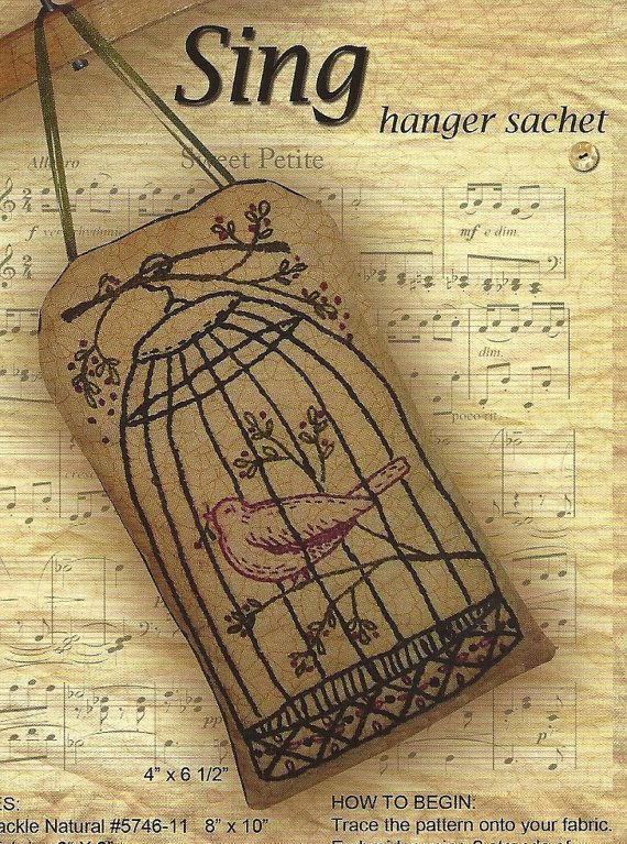 Primitive Folk Art Embroidery Pattern  SING  by PrimFolkArtShop
