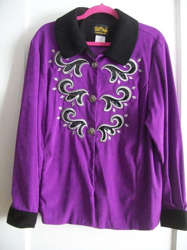 Bob mackie wearable art embroidered zippered moleskin