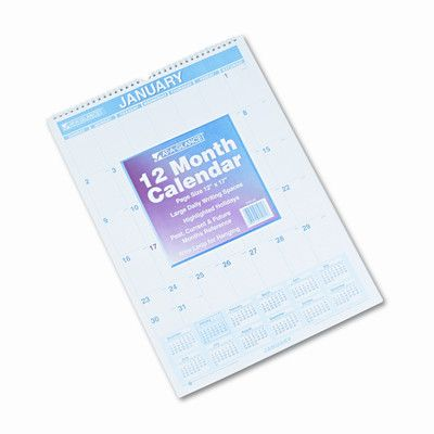 AT-A-GLANCE Ruled Daily Blocks Monthly Wall Calendar, January-December, 12 x 17