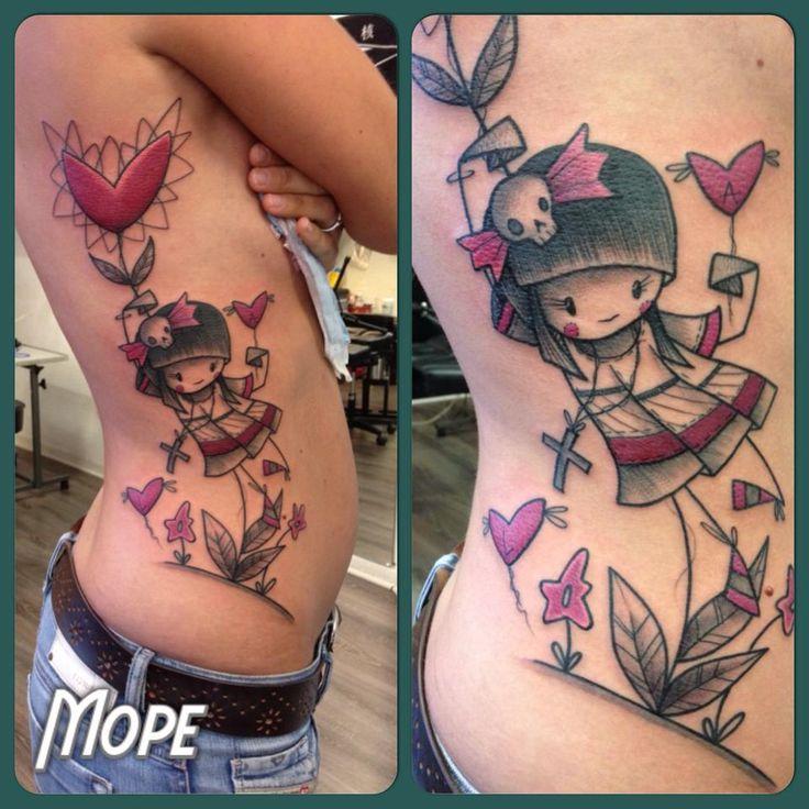 Tattoo artist Mope often makes rag doll tattoos.