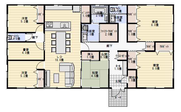 40坪6ldk二世帯で住む平屋の間取り 平屋間取り 間取り 40坪 間取り 二世帯間取り