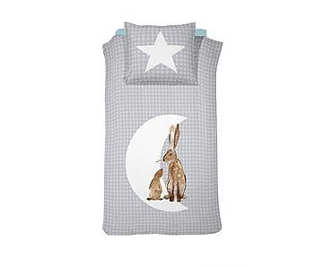 1-persoons dekbedovertrekset Hare, grijs, 140 x 200/220 cm
