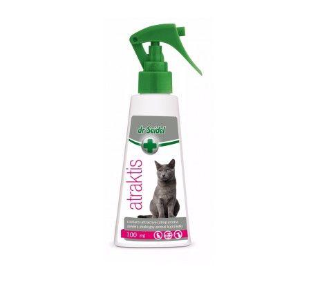 dr Seidel Atraktis. ATRAKTIS zawiera naturalny ekstrakt z kocimiętki, który działa na koty jak atraktant (przywabiająco). Preparat ma przyjemny zapach i jest całkowicie nieszkodliwy dla zwierząt, jak i ludzi. Przeznaczony do stosowania na zabawkach, posłaniach itp. - do zwiększania ich atrakcyjności dla zwierzęcia.