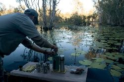 Morning Tea on an air-boat ride. Bamarru Plains NT Australia. Book your stay with us at www.thekimberleycollection.com.au