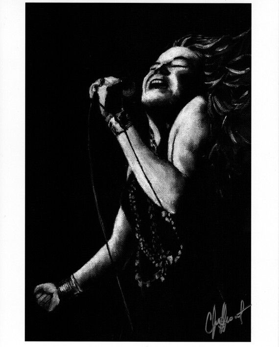 Janis joplin i painted this in black and white acrylic paint