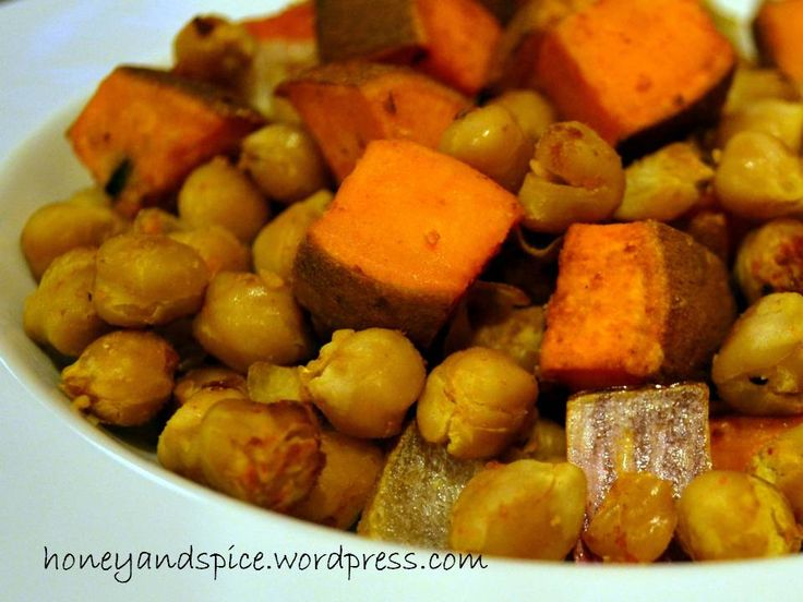 Roasted Sweet Potatoes with Chickpeas (Garbanzo Beans) and Cajun Spice