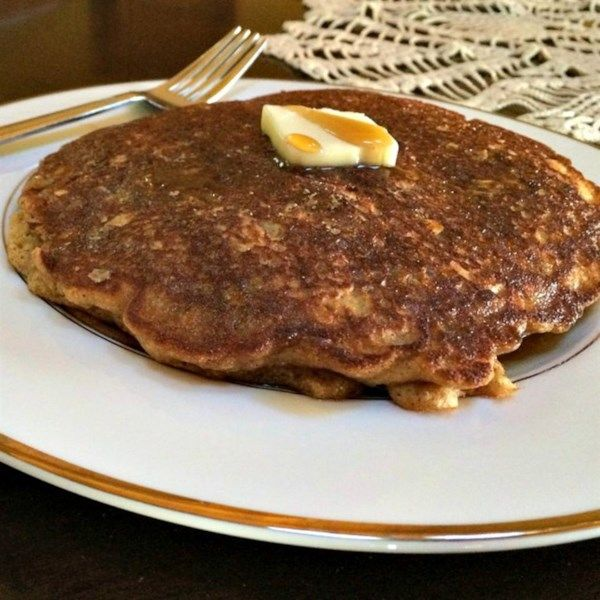 """Oatmeal Raisin Cookie Pancakes   """"Took another good-but-boring pancake recipe and added the cinnamon, nutmeg, and raisins and presto-change-o it's a giant healthy oatmeal raisin cookie!"""" #recipe #entertaining #holidays #mardigras"""