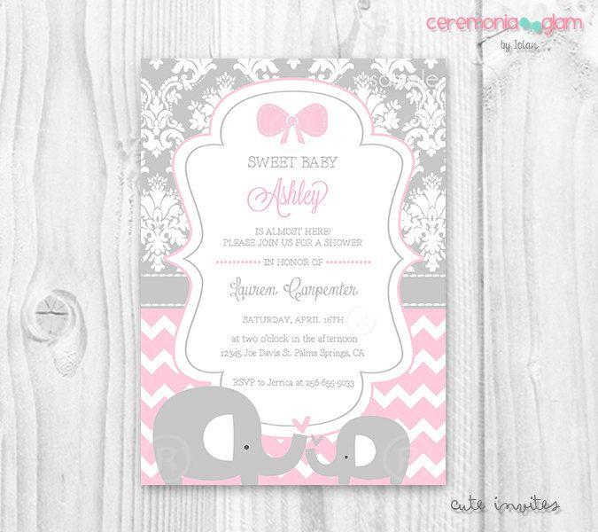 Bebé ducha muchacha elefante suave rosa y gris por ceremoniaGlam