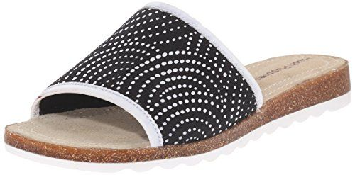 Hush Puppies Womens Panton Jade Flat Sandal BlackWhite Novelty Textile 85 M US -- Find out more about the great product at the image link.(This is an Amazon affiliate link and I receive a commission for the sales)