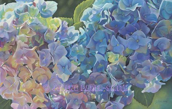 Hydrangea Flower Art Blue Hydrangea Bouquet by ArtByJulene on Etsy