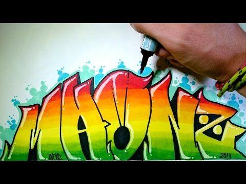 Color pencil blending Graffiti Name - YouTube
