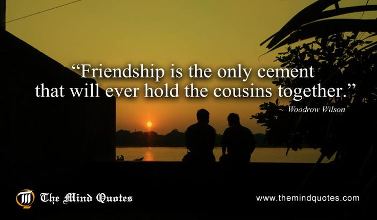 "themindquotes.com : Woodrow Wilson Quotes on Cousin and Friendship""Friendship is the only cement that will ever hold the cousins together."" ~ Woodrow Wilson"