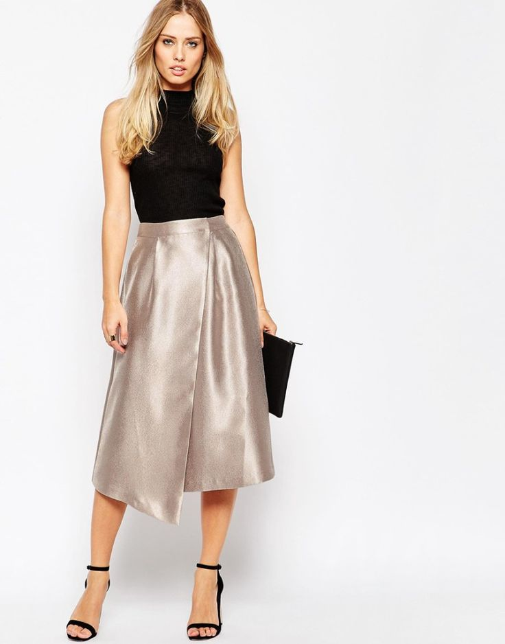 Midi Skirt with Asymmetric Wrap. More skirts to wear this fall >>> http://justbestylish.com/10-stylish-skirts-to-wear-this-fall/